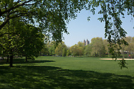 The North Meadow in Central Park with a view of the El Dorado apartment towers.