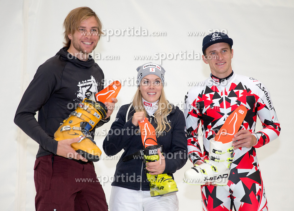10.10.2015, Olympia Eisstadion, Innsbruck, AUT, OeSV Einkleidung Winterkollektion, im Bild v.l. Benjamin Karl, Andrea Limbacher, Matthias Mayer // during the Outfitting of the Ski Austria Winter Collection at the Olympia Eisstadion in Innsbruck, Austria on 2015/10/10. EXPA Pictures © 2015, PhotoCredit: EXPA/ Johann Groder