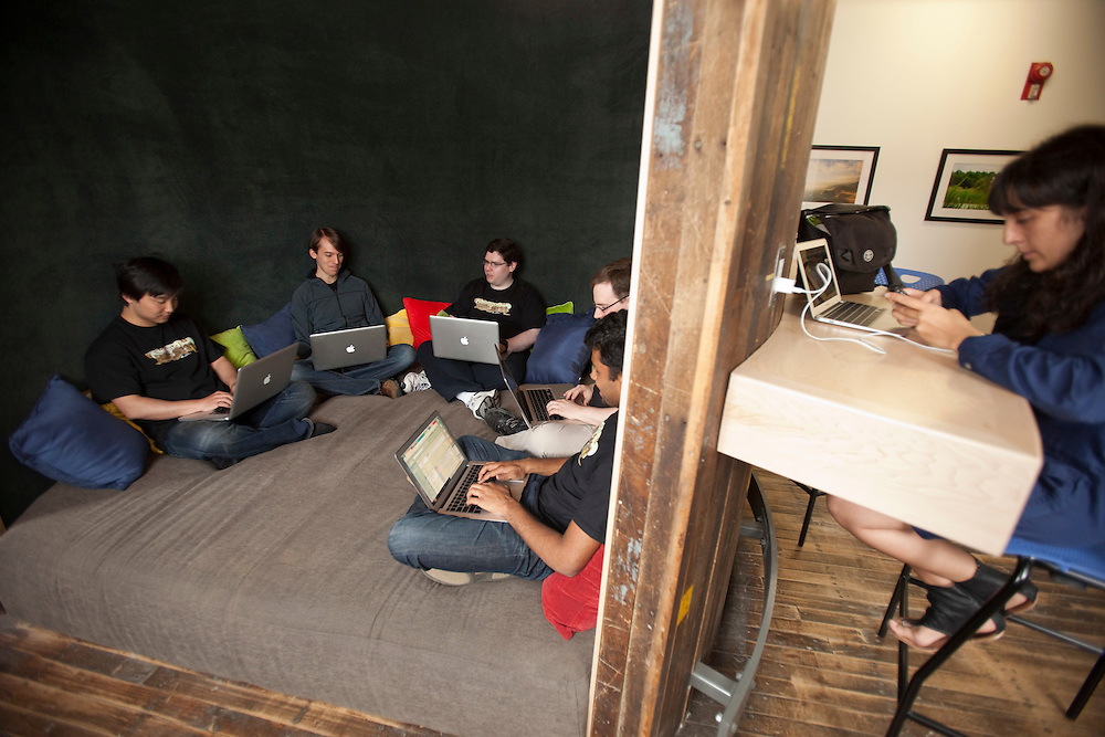 Kitchener, ONT.: May 18, 2011 --  <br /> Google employees work in the &quot;think tank&quot; one of the company's employee friendly workspace during an open house at their offices in Kitchener, Ontario Wednesday, May 18, 2011.<br /> (GEOFF ROBINS for National Post)