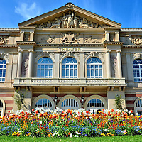 Theater Baden-Baden Fa&ccedil;ade and Flowers in Baden-Baden, Germany<br />