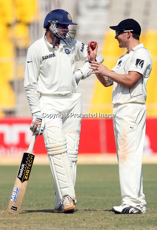 Indian Batsman Harbhajan Singh And New Zealand Player  Brendon McCullum During The 1st Test India vs New Zealand Played at Sardar Patel Stadium, Motera, Ahmedabad