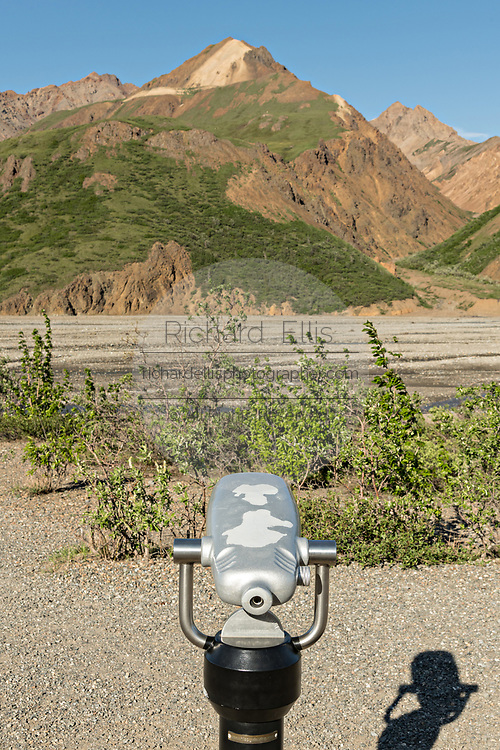 A viewscope telescope viewer at the Teklanika River in Denali National Park Alaska. Denali National Park and Preserve encompasses 6 million acres of Alaska's interior wilderness.