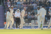 Ben Stokes of England celebrates the wicket of Ishant Sharma during the fourth day of the 4th SpecSavers International Test Match 2018 match between England and India at the Ageas Bowl, Southampton, United Kingdom on 2 September 2018.