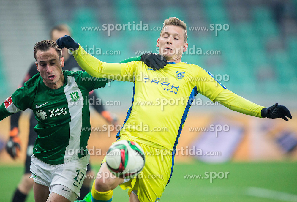 Matic Fink #17 of Olimpija vs Matic Crnic #11 of Domzale during football match between NK Olimpija Ljubljana and NK Domzale in 21st Round of Prva liga Telekom Slovenije 2015/16, on December 6, 2015 in SRC Stozice, Ljubljana, Slovenia. Photo by Vid Ponikvar / Sportida