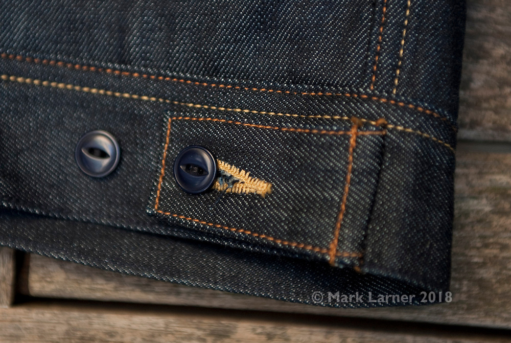 Picture shows waistband detailing on an Emmett Jeans 2PJ 14.7oz selvedge denim jacket.<br /> Copenhagen, 14/10/2013.<br /> <br /> Credit should read: Picture by Mark Larner<br /> NO UNAUTHORISED USAGE