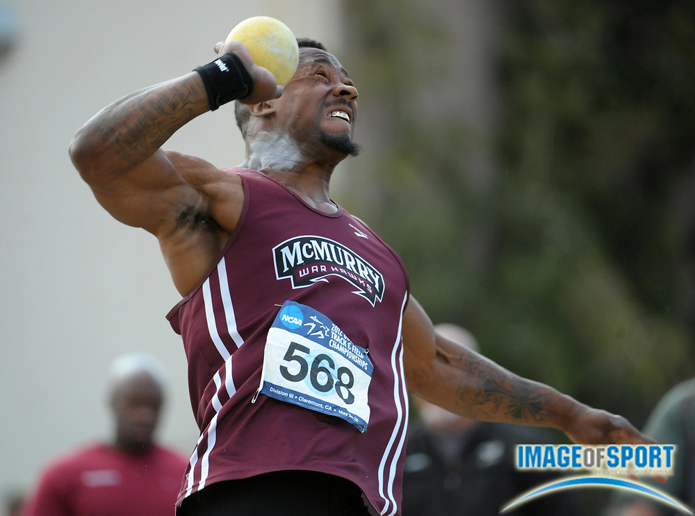 May 26, 2012; Claremont, CA, USA; Paul Davis of McMurry wins the shot put with a throw of 60-10 1/2 (18.55m) in the 2012 NCAA Division III Track & Field Championships at Claremont-Mudd-Scripps College.