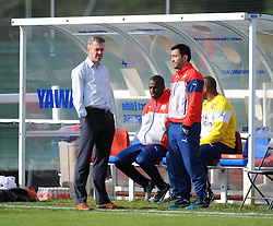 Bristol Academy Women's new manager Willie Kirk chats with Arsenal Ladies Manager Pedro Martinez Losa - Photo mandatory by-line: Paul Knight/JMP - Mobile: 07966 386802 - 09/05/2015 - SPORT - Football - Bristol - Stoke Gifford Stadium - Bristol Academy Women v Arsenal Ladies FC - FA Women's Super League