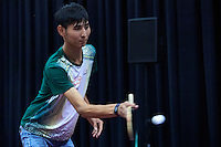 SO Kyrgyz athlete Adilet Nurbek Ulul plays table tennis   during third day of the Special Olympics World Games Los Angeles 2015 on July 27, 2015 at South Hall on Los Angeles Convention Centre in  Los Angeles, USA.<br /> USA, Los Angeles, July 27, 2015<br /> <br /> Picture also available in RAW (NEF) or TIFF format on special request.<br /> <br /> For editorial use only. Any commercial or promotional use requires permission.<br /> <br /> Adam Nurkiewicz declares that he has no rights to the image of people at the photographs of his authorship.<br /> <br /> Mandatory credit:<br /> Photo by &copy; Adam Nurkiewicz / Mediasport