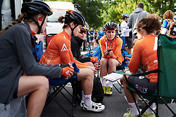 Sara Poidevin (CAN) in the Rally Cycling team talk at Stage 1 of 2020 Santos Women's Tour Down Under, a 116.3 km road race from Hahndorf to Macclesfield, Australia on January 16, 2020. Photo by Sean Robinson/velofocus.com