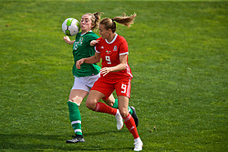 MARBELLA, SPAIN - Tuesday, March 5, 2019: Wales' Kayleigh Green (R) and Republic of Ireland's Megan Connolly during an international friendly match between Wales and Republic of Ireland at the Estadio Municipal de Marbella. (Pic by David Rawcliffe/Propaganda)