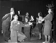 """8/12/1960<br /> 12/8/1960<br /> 8 December 1960<br /> Rehearsal for new musical """"The Crooked House"""" at Busaras Theatre, Dublin, an Eamonn O Higgins production,<br /> Director J Hole. Image shows (l-r):Jack O'Reilly, Dereck Young, May Ellis, Gilbert McIntyre, Angela Nolan and Barbara McCaughey .Pctures to illustrate feature by Mr. Pendlebury, Daily Mail."""