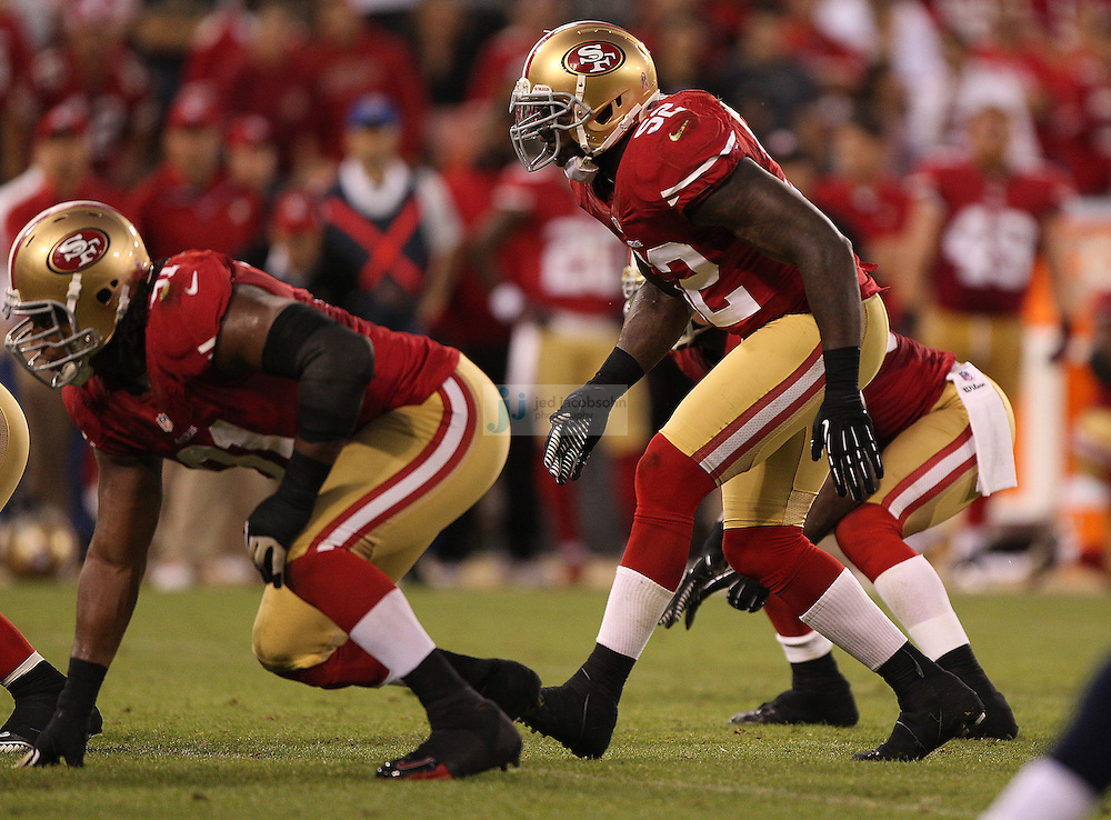 San Francisco 49ers linebacker Patrick Willis (52) lines up against the Seattle Seahawks on Thursday, Oct. 18, 2012 at Candlestick Park in San Francisco. (AP Photo/Jed Jacobsohn)
