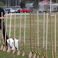 Thomas Wells | BUY at PHOTOS.DJOURNAL.COM<br /> Brandon Bishop with JBHM gets the hard hats ready for Monday's groundbreaking ceremony at Veterans Park.
