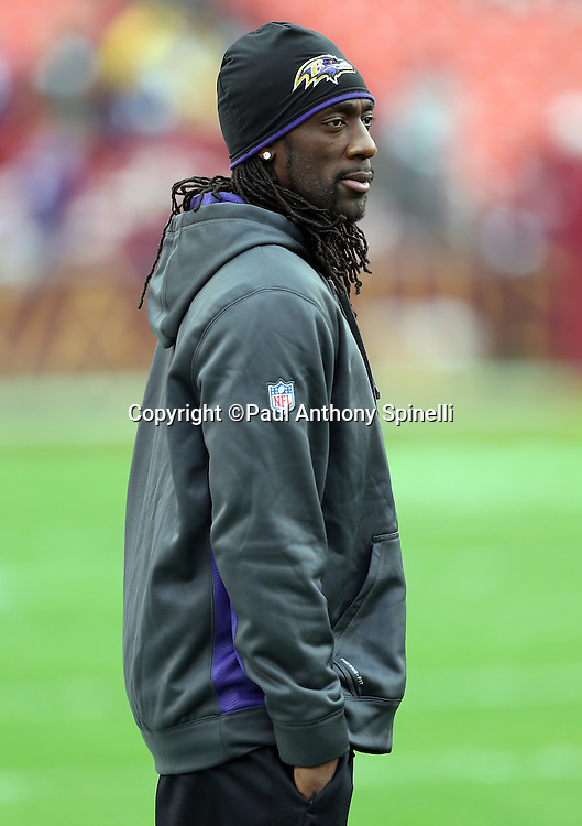 Baltimore Ravens cornerback Lardarius Webb (21) looks on from the sideline during the NFL week 14 football game against the Washington Redskins on Sunday, Dec. 9, 2012 in Landover, Md. The Redskins won the game in overtime 31-28. ©Paul Anthony Spinelli