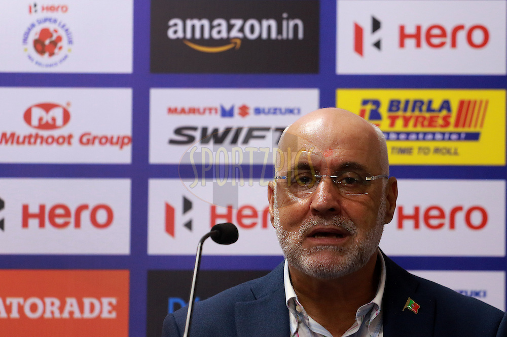 NorthEast United FC coach Nelo Vingada during the press conference of the match 7 of the Indian Super League (ISL) season 3 between Mumbai City FC and NorthEast United FC held at the Mumbai Football Arena in Mumbai, India on the 7th October 2016.<br /> <br /> Photo by Vipin Pawar / ISL/ SPORTZPICS