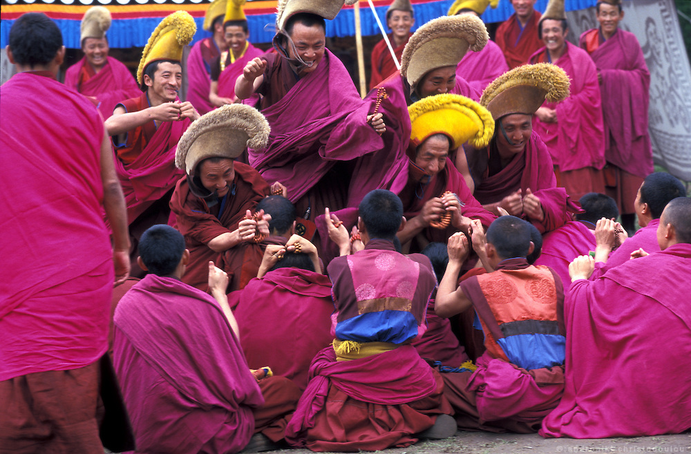 The garden of the monastery were every afternoon, monks have philosophical debates and play a philosophical (as Oulsal said) game that follows them..LAMBRANG MONASTERY IN XIAHE - CHINA.copyright: Androniki Christodoulou.