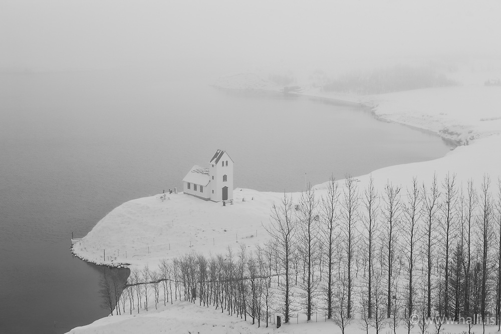 Church at winter by the lake Ulfljotsvatn, Iceland - Kirkjan að Úlfljótsvatni að vetri til