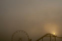 foggy day at the amusement park in Santa Monica, CA