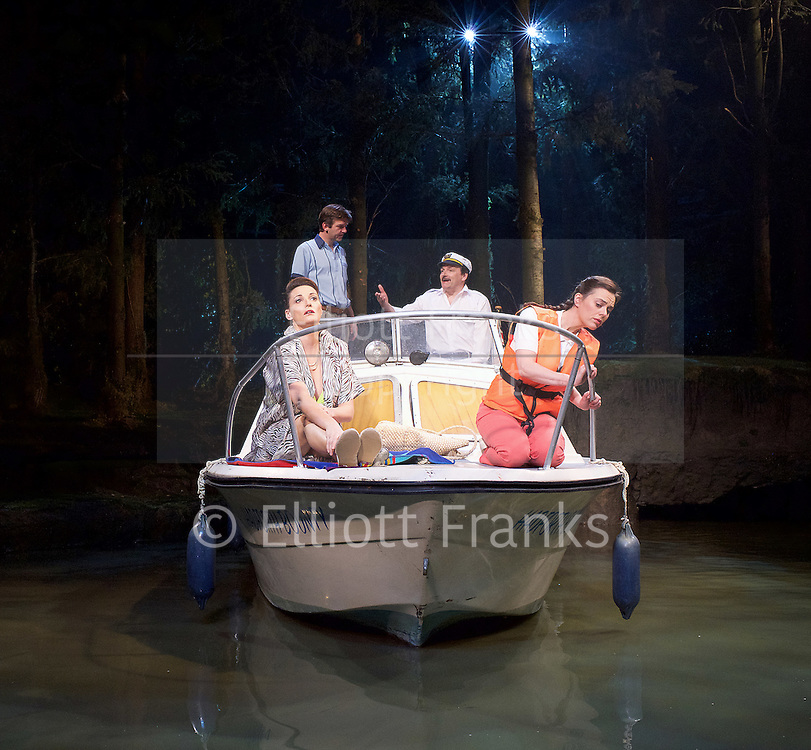 Way Up Stream <br /> by Alan Ayckbourn <br /> <br /> at The Festival Theatre Chichester, Great Britain <br /> <br /> 27th April 2015 <br /> <br /> Press photocall <br /> <br /> Peter Forbes as Keith <br /> <br /> Sarah Parish as June <br /> <br /> Jason Hughes as Alistair <br /> <br /> Jill Halfpenny as Emma <br /> <br /> Photograph by Elliott Franks <br /> Image licensed to Elliott Franks Photography Services
