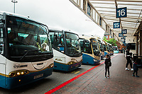 Little girl takes glance at busses at bus terminal in Belfast, Northern Ireland. Copyright 2019 Reid McNally.