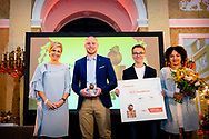 THE HAGUE - Queen Maxima presents the Appeltjes van Oranje at Noordeinde Palace in The Hague on Wednesday morning, June 6. The prizes will be awarded this year to three initiatives from 'young and social entrepreneurs'. The winners are Buddy to Buddy from Zutphen, Yets Foundation from Vlaardingen and the Excel Arts Academy from Cura&ccedil;ao. ROBIN UTRECHT<br /> <br /> DEN HAAG - Koningin Maxima reikt op woensdagochtend 6 juni de Appeltjes van Oranje uit op Paleis Noordeinde in Den Haag. De prijzen worden dit jaar toegekend aan drie initiatieven van &lsquo;jonge en sociale ondernemers&rsquo;. De winnaars zijn Buddy to Buddy uit Zutphen, Yets Foundation uit Vlaardingen en de Excel Arts Academy uit Cura&ccedil;ao. ROBIN UTRECHT