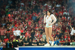 Dua Lipa performs prior to the UEFA Champions League final football match between Liverpool and Real Madrid at the Olympic Stadium in Kiev, Ukraine on May 26, 2018.Photo by Sandi Fiser / Sportida