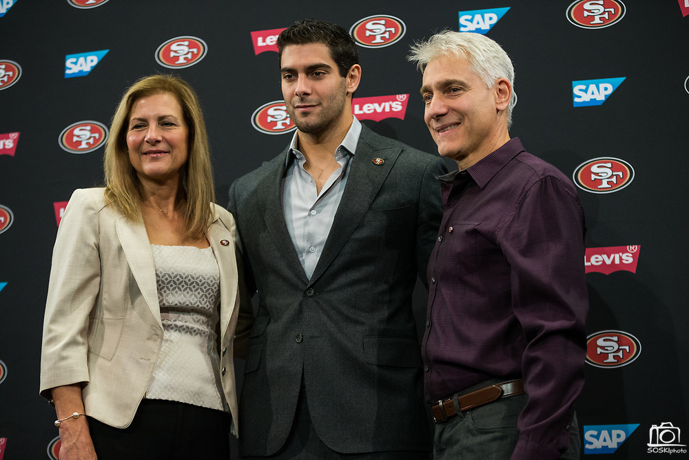 Jimmy Garoppolo press conference at Levi's Stadium in Santa Clara, Calif., on February 9, 2018. (Stan Olszewski/Special to S.F. Examiner)