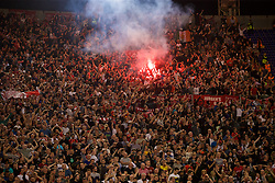 ROME, ITALY - Wednesday, May 2, 2018: Liverpool supporters, set off a red flare, as they celebrate after the 7-6 aggregate victory over AS Roma during the UEFA Champions League Semi-Final 2nd Leg match between AS Roma and Liverpool FC at the  Stadio Olimpico. (Pic by David Rawcliffe/Propaganda)