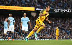 Brighton & Hove Albion's Leonardo Ulloa celebrates scoring his side's first goal of the game during the Premier League match at the Etihad Stadium, Manchester.