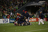 SEATTLE - NOVEMBER 22: The  Real Salt Lake team celebrate their victory against the  Los Angeles Galaxy in the MLS Cup final at Qwest Field on November 22, 2009 in Seattle, Washington. (Photo by Tom Hauck)