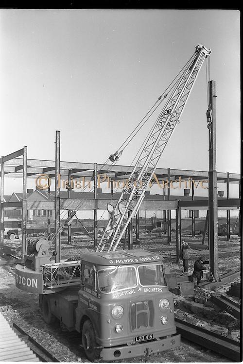 17/01/1963<br /> 01/17/1963<br /> 17 January 1963<br /> G. Milner and Sons Ltd. Hydrocon Highlander Crane at work at Whitehall, Dublin.