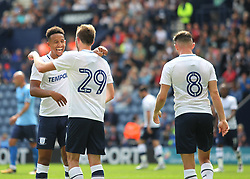 Tom Barkhuizen (C) of Preston North End celebrates scoring his sides first goal - Mandatory by-line: Jack Phillips/JMP - 22/07/2017 - FOOTBALL - Deepdale - Preston, England - Preston North End v Newcastle United - Pre-Season Club Friendly