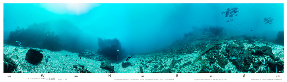Underwater 360 degree panoramia at buoy no. 2 Rena debris field 2015. Astrolabe reef. New Zealand