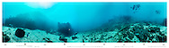 Underwater 360 degree panoramia at buoy no. 2 Rena debris field 2015. Astrolabe reef. New Zealand