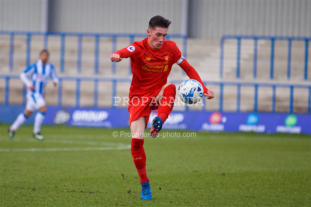 ASHTON-UNDER-LYNE, ENGLAND - Sunday, February 12, 2017: Liverpool's captain Harry Wilson in action against Huddersfield Town during the FA Premier League Cup Group G match at Tameside Stadium. (Pic by David Rawcliffe/Propaganda)