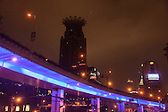 China,Shangai,city center, pedestrian overpass and urban highway in  Dashijie and Yen an road area.