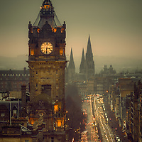 The Balmoral and Princes Street from Calton hill, Edinburgh