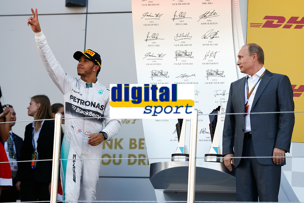 HAMILTON Lewis (Gbr) Mercedes Gp Mgp W05, Vladimir Putin during the 2014 Formula One World Championship, Russia Grand Prix from October 9th to 12th 2014 in Sotchi, Russia. Photo Florent Gooden / DPPI.