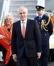 Auckland-Australia PM Malcolm Turnbull arrives for bilateral talks