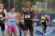 Jul 28, 2019; Des Moines, IA, USA; Donavan Brazier celebrates after winning the 800m in 1:45.62  during the USATF Championships at Drake Stadium.