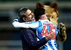 Huddersfield Town manager David Wagner celebrates with Kasey Palmer of Huddersfield Town after the win over Brighton & Hove Albion - Mandatory by-line: Robbie Stephenson/JMP - 02/02/2017 - FOOTBALL - John Smith's Stadium - Huddersfield, England - Huddersfield Town v Brighton and Hove Albion - Sky Bet Championship