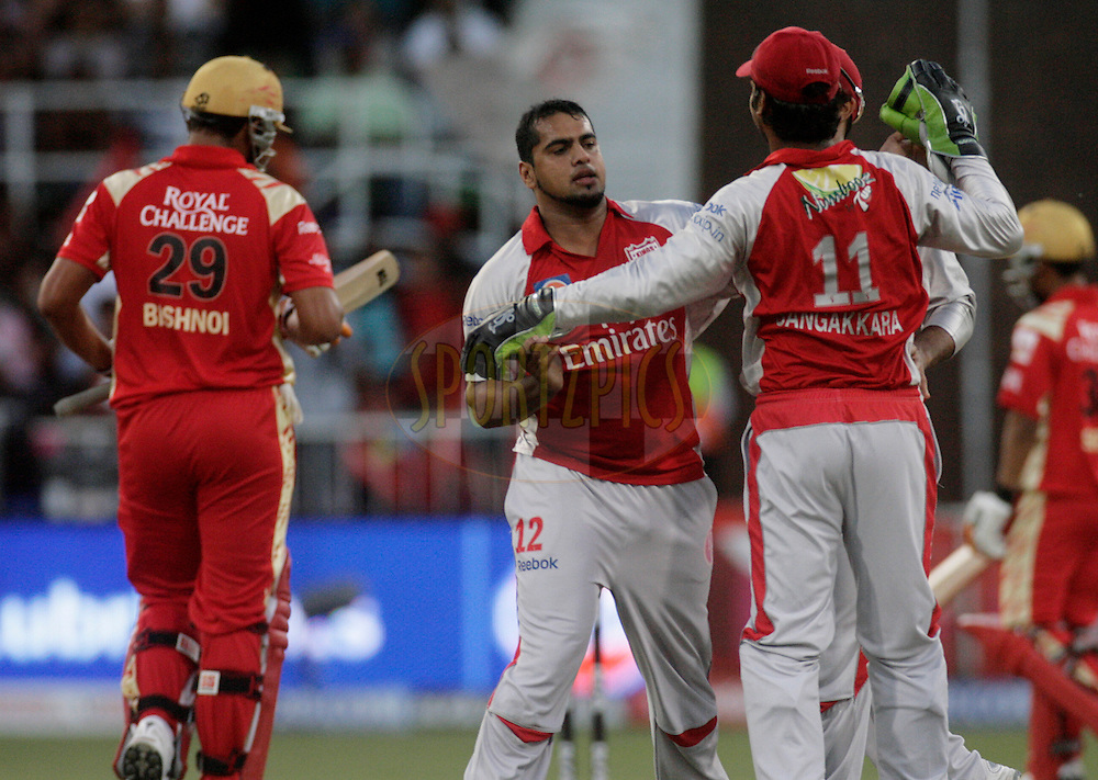 DURBAN, SOUTH AFRICA - 1 May, 2009. Yusuf Abdulla celebrates the wicket of Rajesh Bishnoi during the IPL Season 2 match between Kings X1 Punjab and the Royal Challengers Bangalore held at Sahara Stadium Kingsmead, Durban, South Africa..