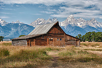 Moulton Barn in Jackson Hole, Wyoming.  With the Grand Teton mountains in the background, this is referred to as the most photographed barn in America.