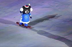 March 9, 2018 - Pyeongchang, South Korea - A Paralympic Games mascot rides a skateboard into Opening Ceremony for the 2018 Pyeongchang Winter Paralympic Games March 9, 2018. Photo by Mark Reis (Credit Image: © Mark Reis via ZUMA Wire)