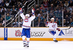 March 4, 2010; San Jose, CA, USA; Montreal Canadiens right wing Brian Gionta (21) celebrates after scoring a goal against the San Jose Sharks during the first period at HP Pavilion.  San Jose defeated Montreal 3-2. Mandatory Credit: Jason O. Watson / US PRESSWIRE