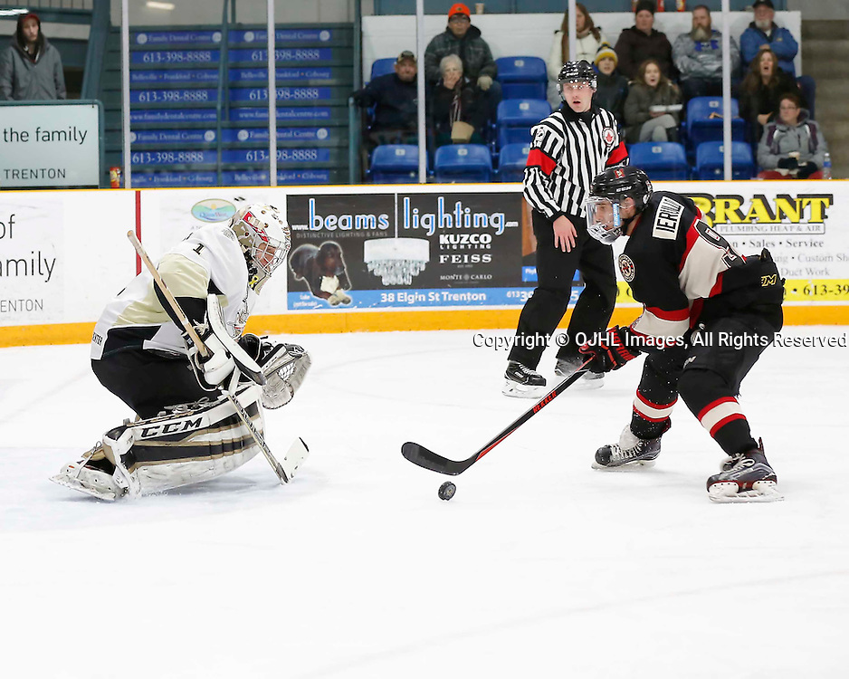 TRENTON, ON - MAR 3,  2017: Ontario Junior Hockey League, playoff game between the Trenton Golden Hawks and the Newmarket Hurricanes., Francesco Luca #7 of the Newmarket Hurricanes on a break away during the second period<br /> (Photo by Amy Deroche / OJHL Images)