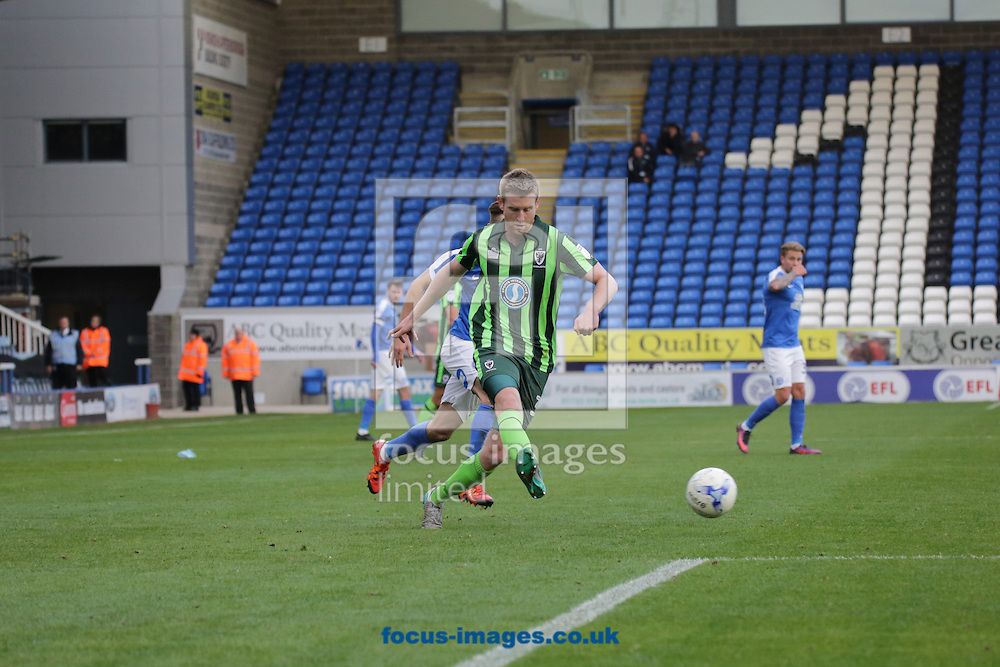 John Mendes of of AFC Wimbledon defends during the Peterborough United v AFC Wimbledon Sky Bet League 1 match at London Road, Peterborough<br /> Picture by Glenn Sparkes/Focus Images Ltd 07939664067<br /> 22/10/2016