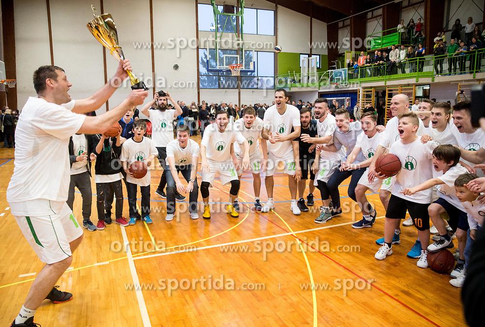 Goran Jagodnik and other players of Ilirija celebrate at Jagodnik's end of a career after basketball match between KD Ilirija and KK Mesarija Prunk Sezana in Last Round of 2. SKL  2016/17, on April 15, 2017 in GIB center, Ljubljana, Slovenia. Photo by Vid Ponikvar / Sportida