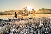 UNITED KINGDOM, London: 29 November 2016 A walker takes enjoys the view amongst a frosty yet colourful Richmond Park this morning as temperatures plummeted to -7C last night. Rick Findler / Story Picture Agency
