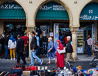 CASABLANCA, MOROCCO - CIRCA APRIL 2017: People walking in Avenue Des Far, a major artery around the Medina in Casablanca
